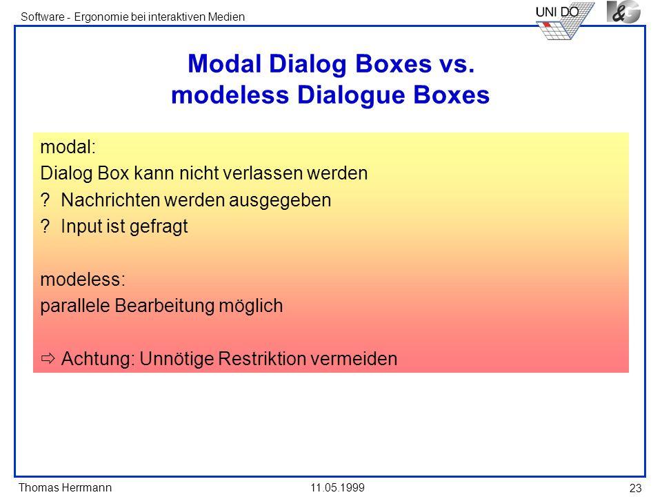 Modal Dialog Boxes vs. modeless Dialogue Boxes