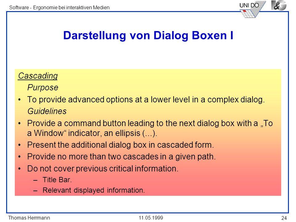 Darstellung von Dialog Boxen I