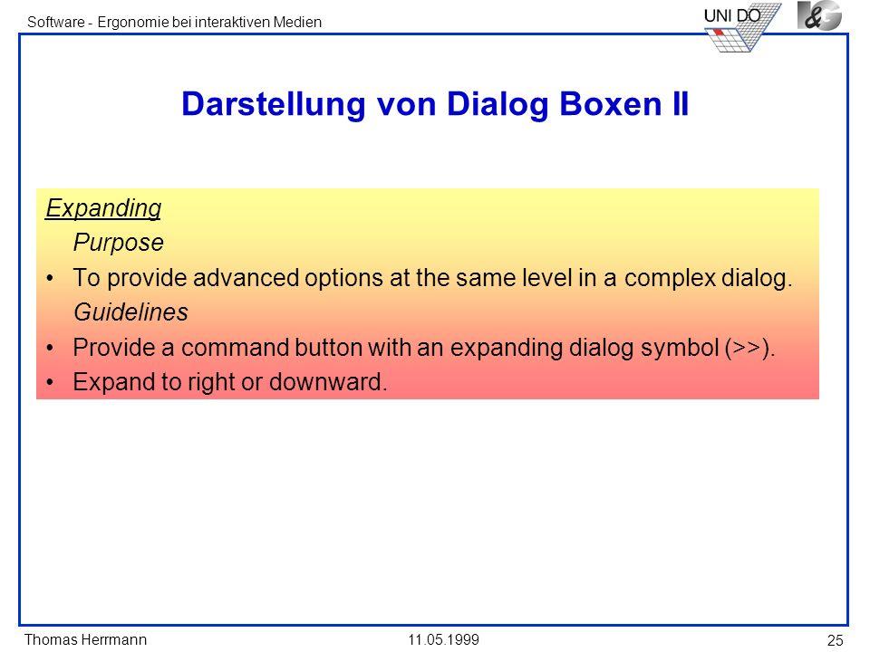 Darstellung von Dialog Boxen II
