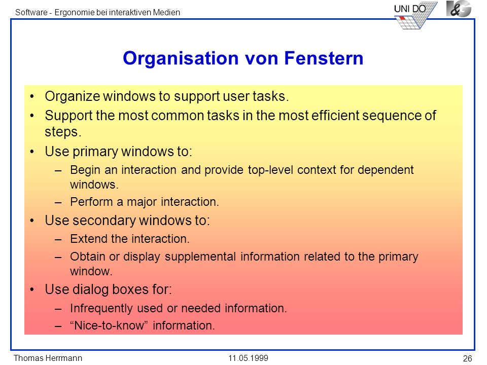Organisation von Fenstern