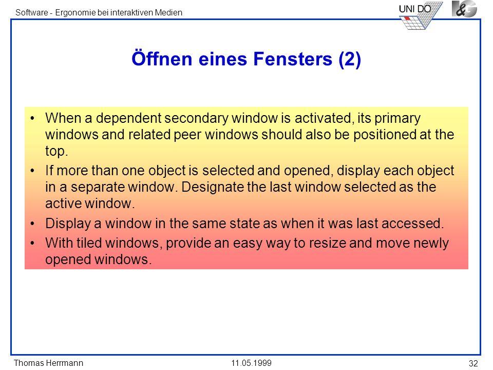 Öffnen eines Fensters (2)