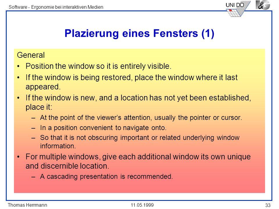 Plazierung eines Fensters (1)