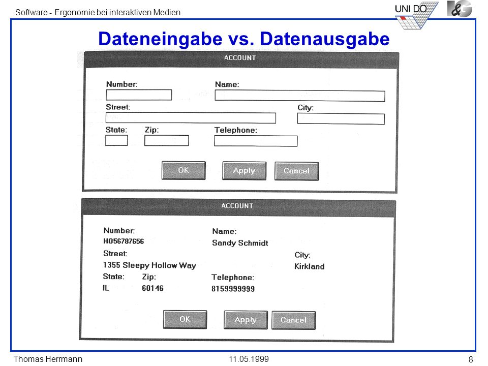 Dateneingabe vs. Datenausgabe