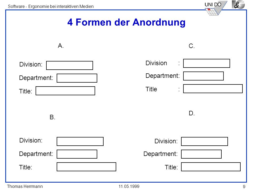 4 Formen der Anordnung A. Division: Department: Title: C. Division :