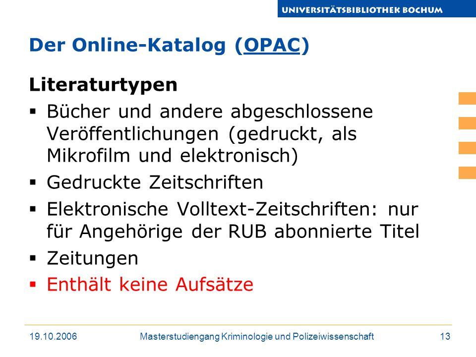Der Online-Katalog (OPAC)