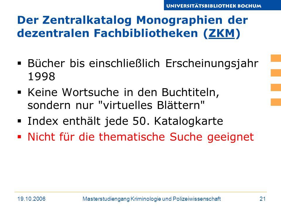 Der Zentralkatalog Monographien der dezentralen Fachbibliotheken (ZKM)
