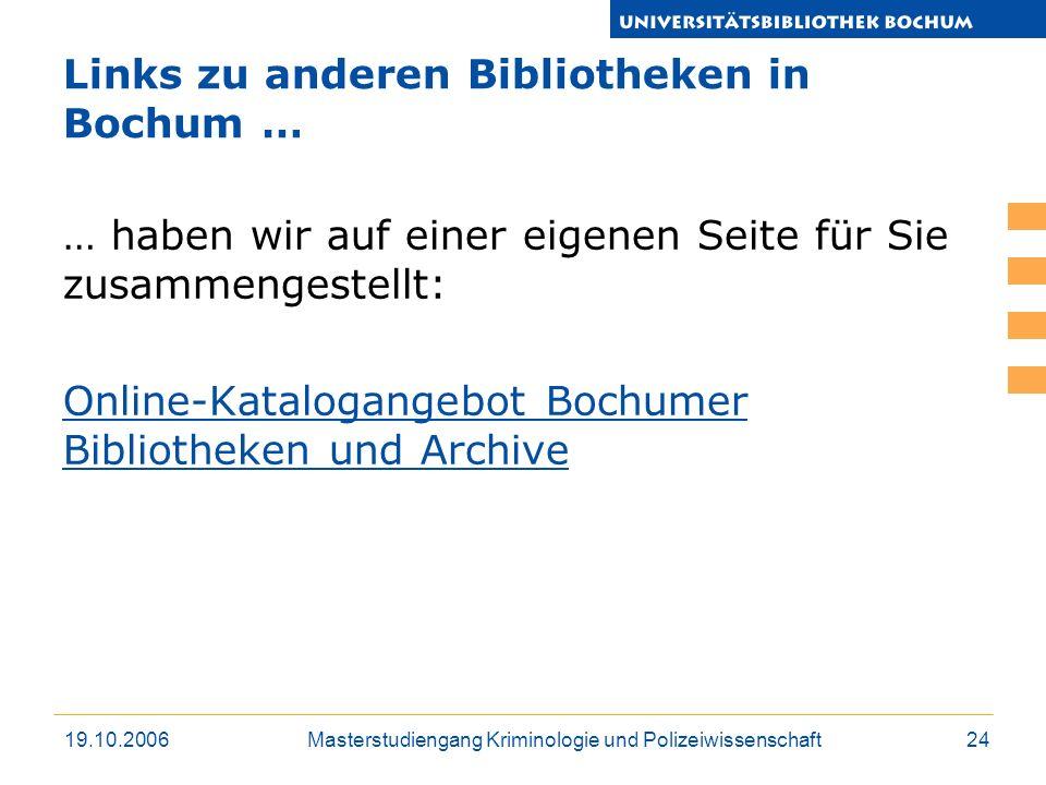 Links zu anderen Bibliotheken in Bochum …