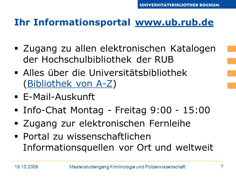 Ihr Informationsportal www.ub.rub.de