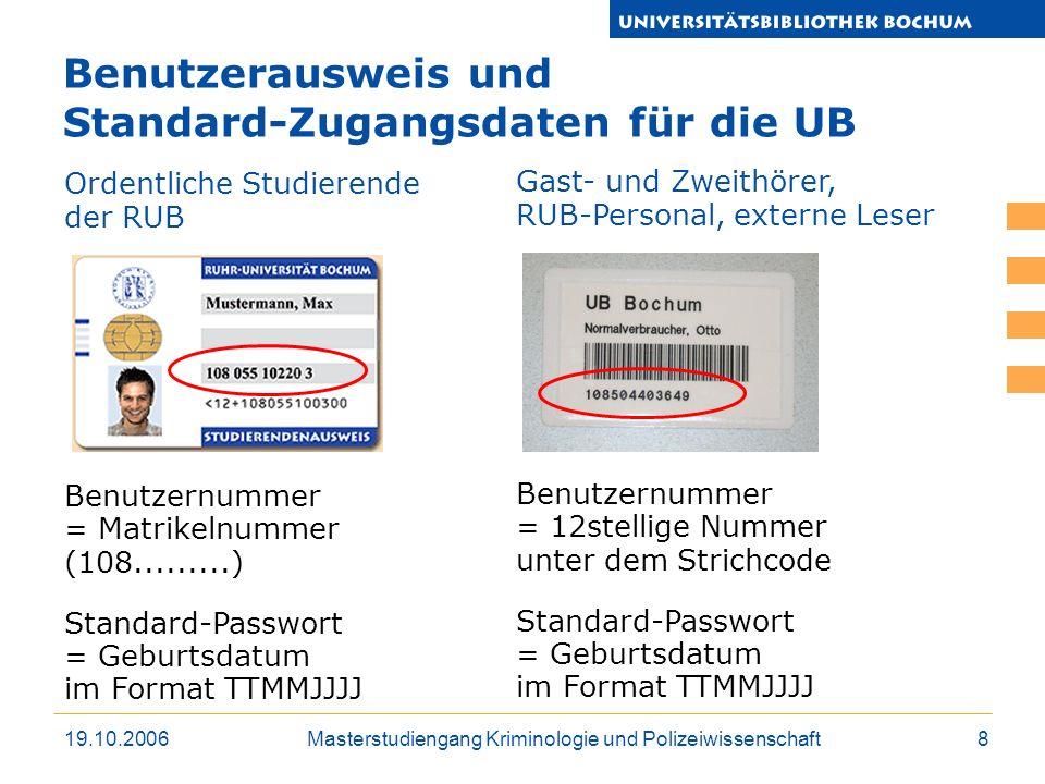 Benutzerausweis und Standard-Zugangsdaten für die UB