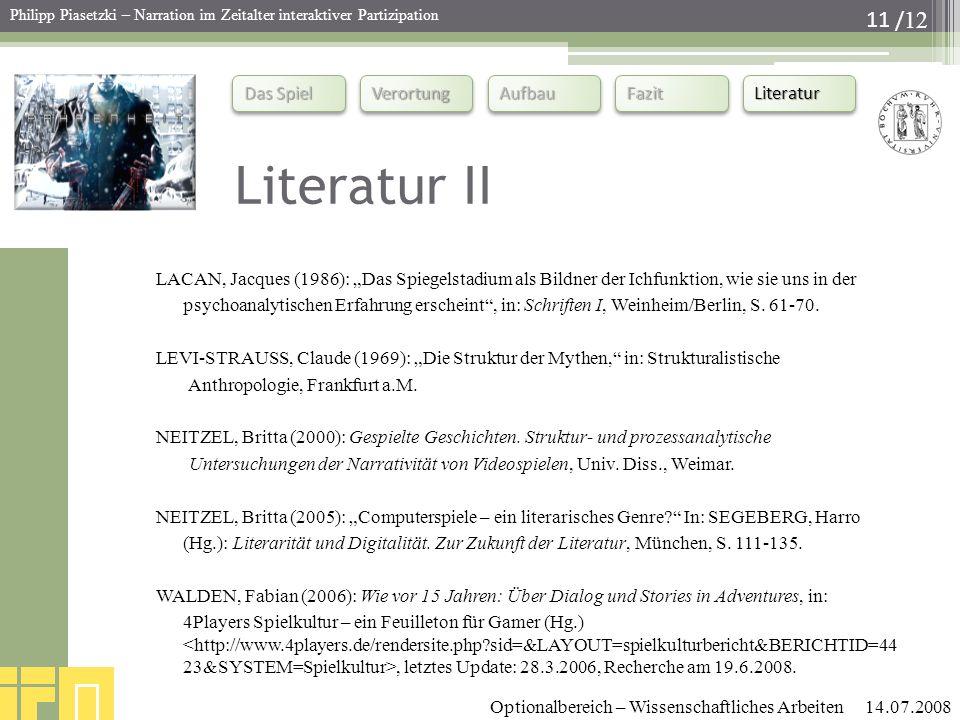 """Literatur II LACAN, Jacques (1986): """"Das Spiegelstadium als Bildner der Ichfunktion, wie sie uns in der."""