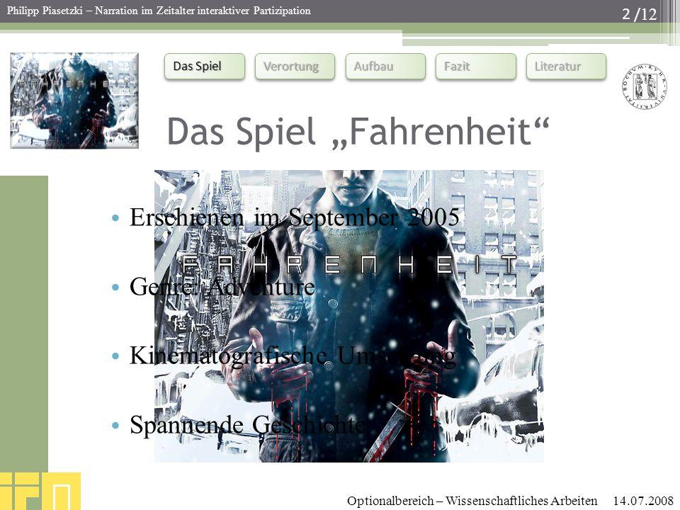 """Das Spiel """"Fahrenheit"""