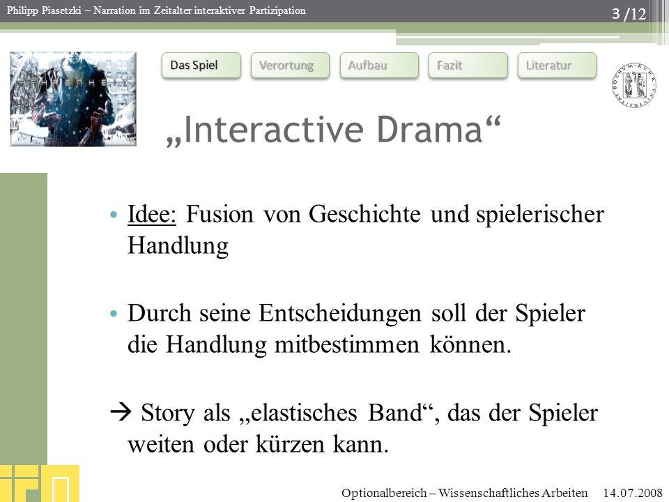 """""""Interactive Drama Idee: Fusion von Geschichte und spielerischer Handlung."""