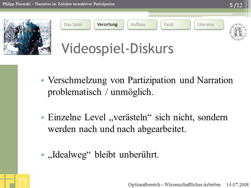 Videospiel-Diskurs Verschmelzung von Partizipation und Narration problematisch / unmöglich.