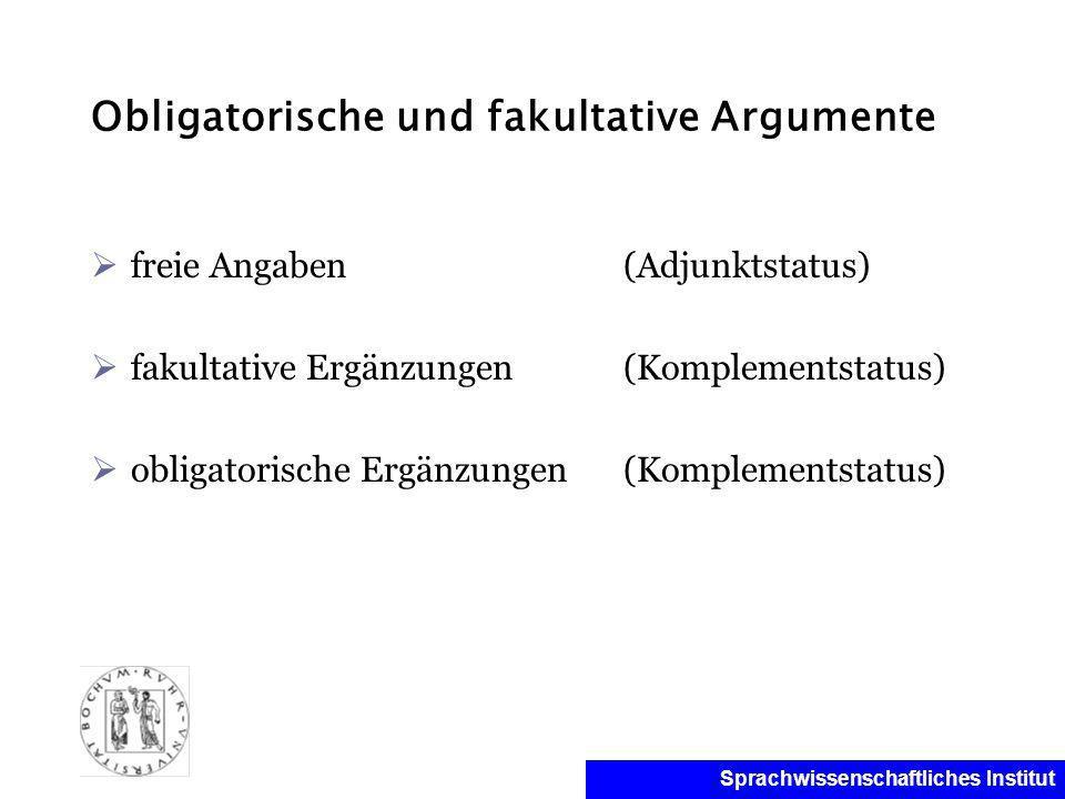 Obligatorische und fakultative Argumente