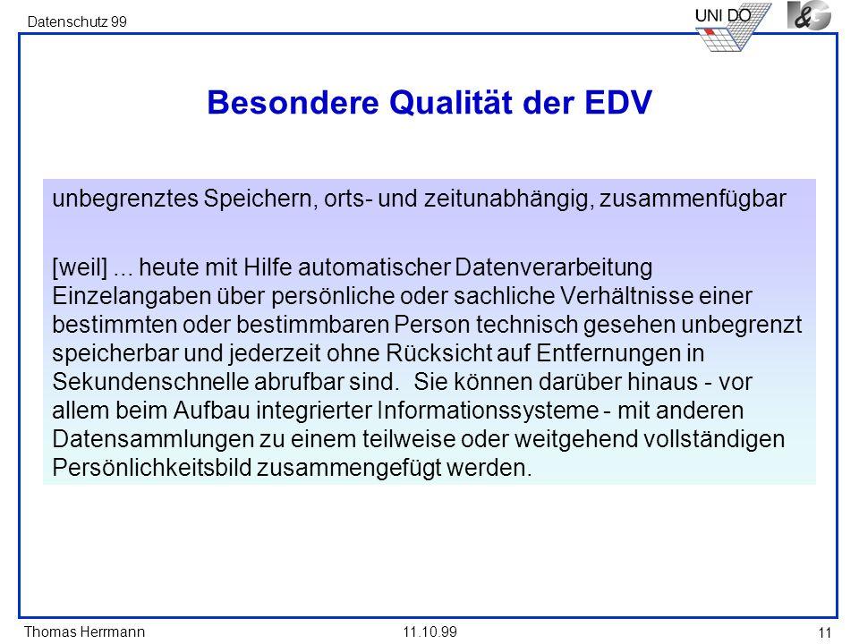 Besondere Qualität der EDV