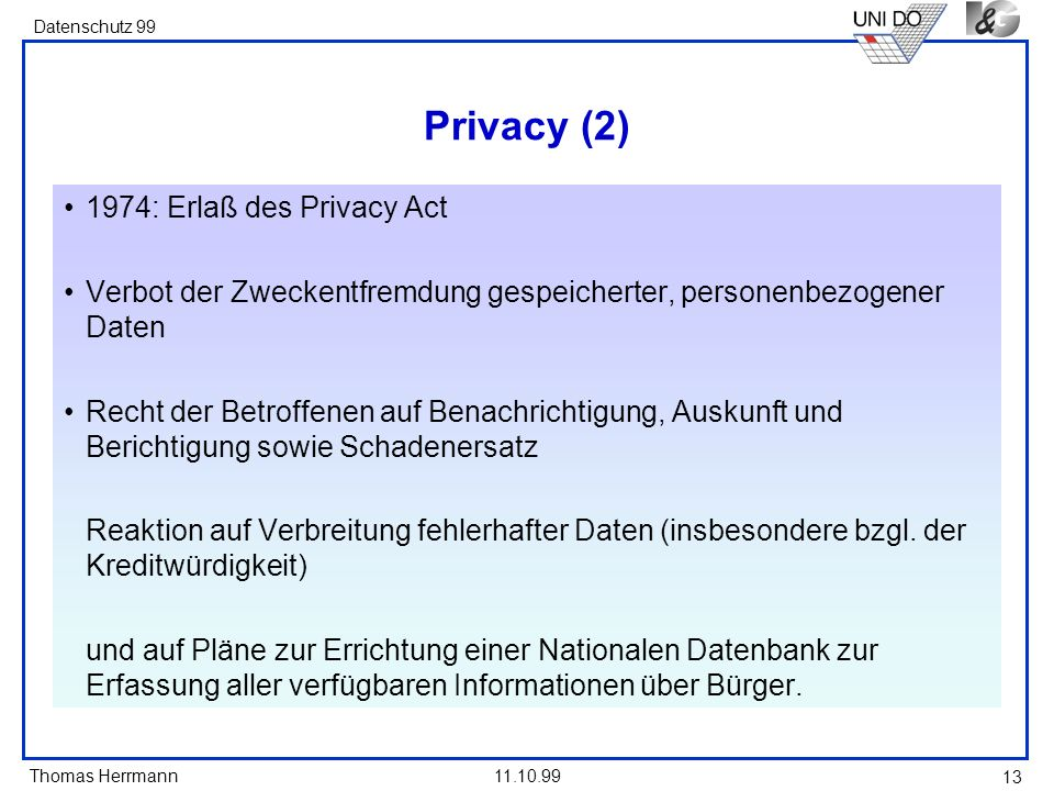 Privacy (2) 1974: Erlaß des Privacy Act
