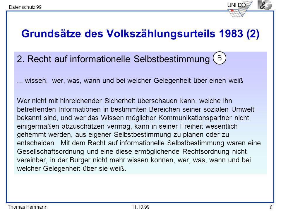 Grundsätze des Volkszählungsurteils 1983 (2)
