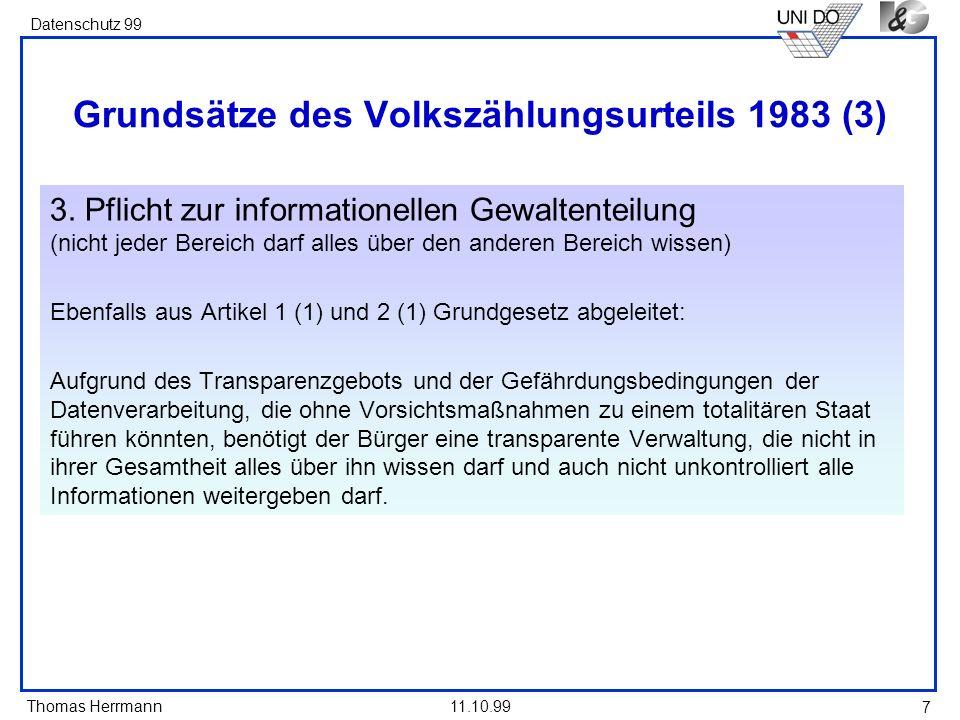 Grundsätze des Volkszählungsurteils 1983 (3)