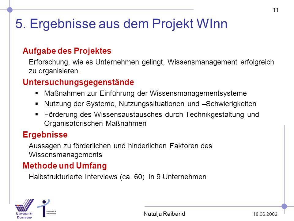 5. Ergebnisse aus dem Projekt WInn