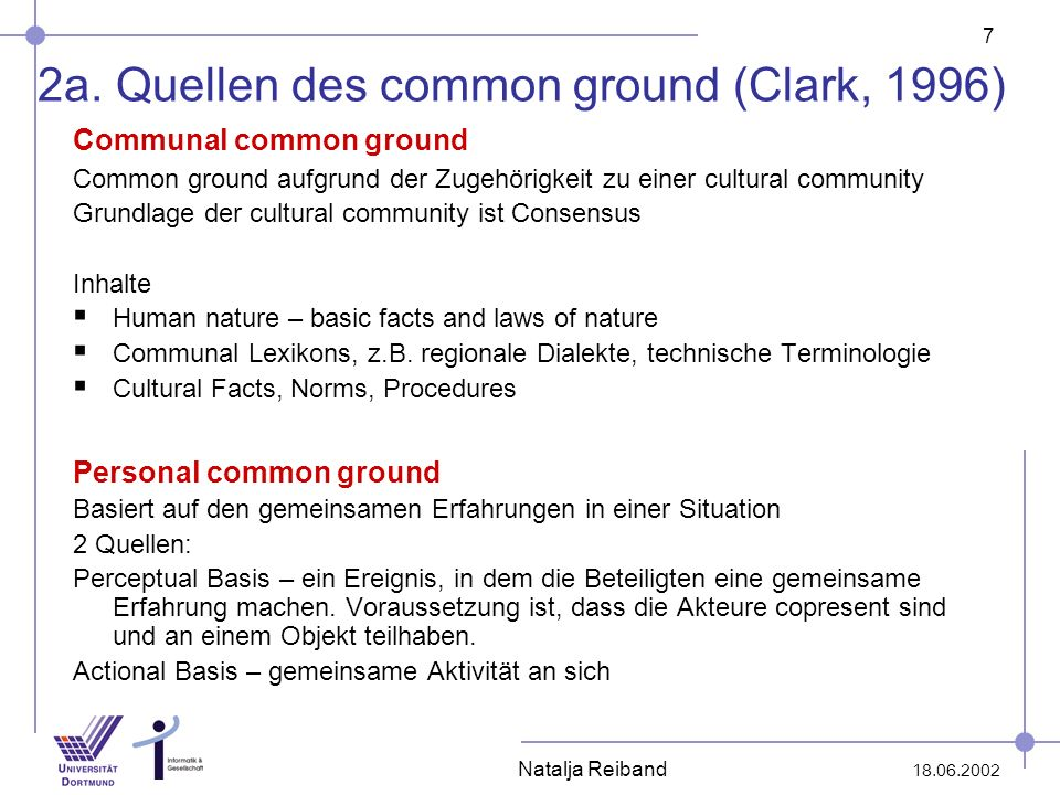 2a. Quellen des common ground (Clark, 1996)