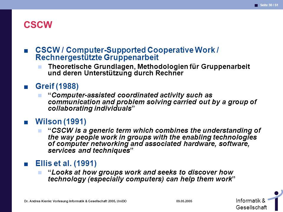 CSCW CSCW / Computer-Supported Cooperative Work / Rechnergestützte Gruppenarbeit.