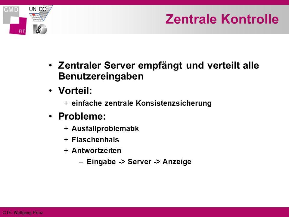 Zentrale Kontrolle Zentraler Server empfängt und verteilt alle Benutzereingaben. Vorteil: einfache zentrale Konsistenzsicherung.