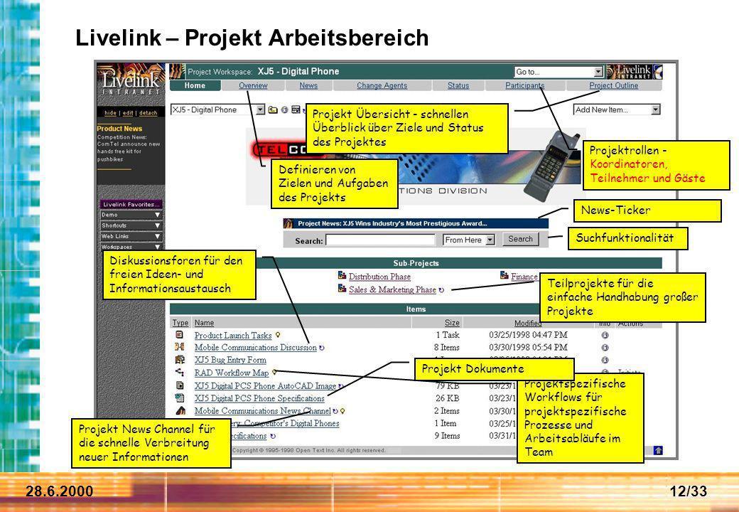 Livelink – Projekt Arbeitsbereich
