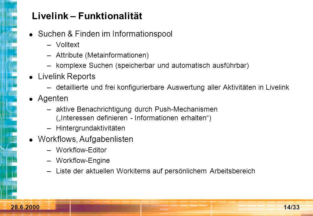 Livelink – Funktionalität