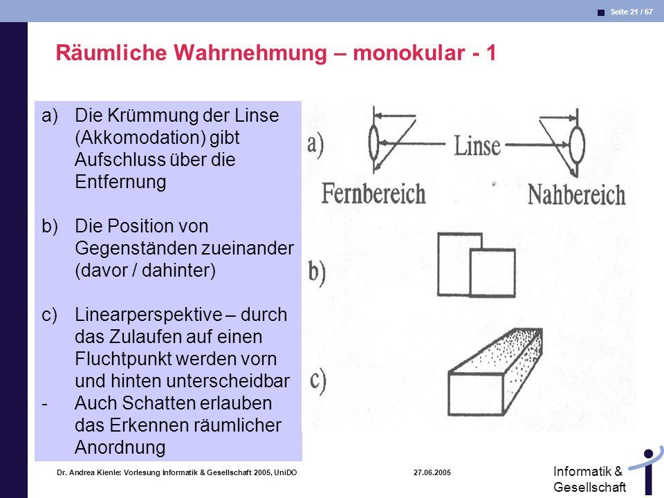 Räumliche Wahrnehmung – monokular - 1