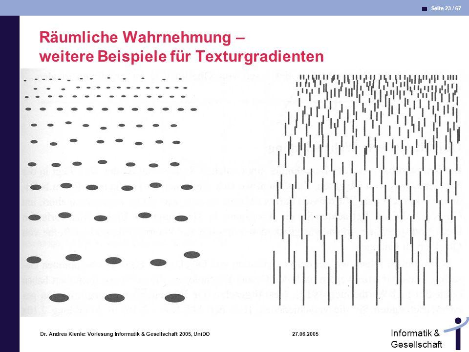 Räumliche Wahrnehmung – weitere Beispiele für Texturgradienten