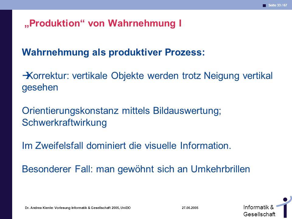 """""""Produktion von Wahrnehmung I"""