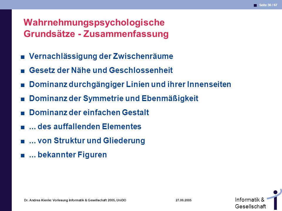 Wahrnehmungspsychologische Grundsätze - Zusammenfassung