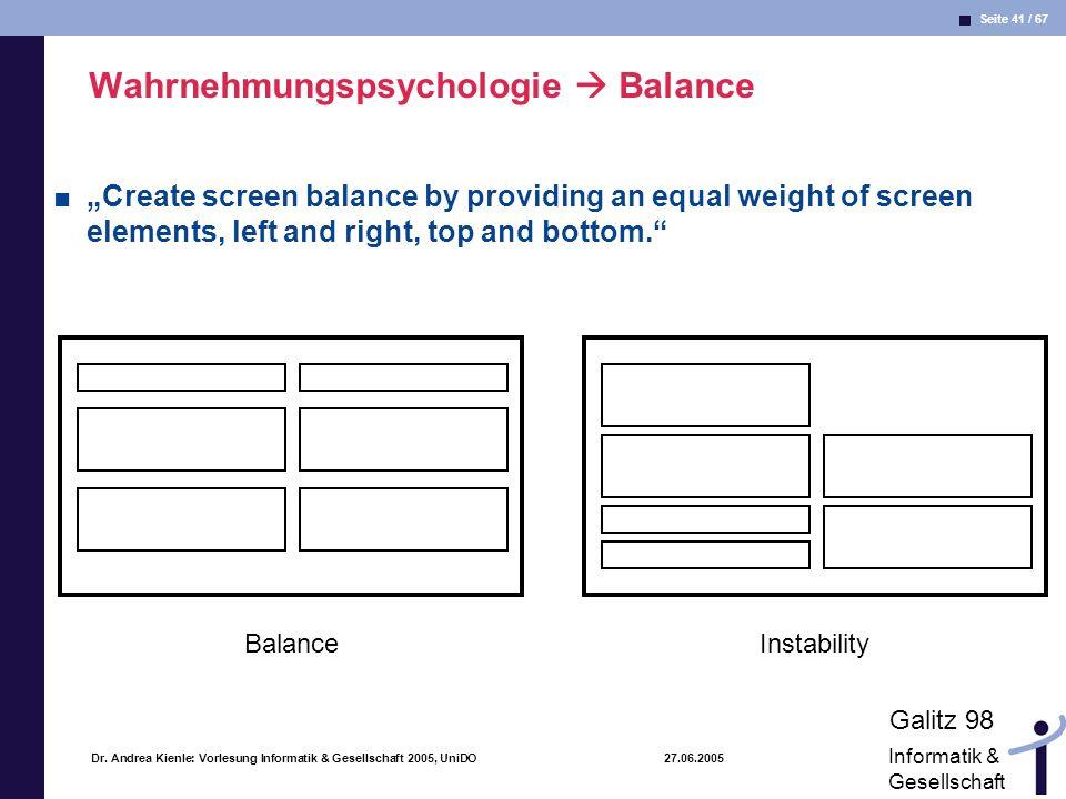 Wahrnehmungspsychologie  Balance