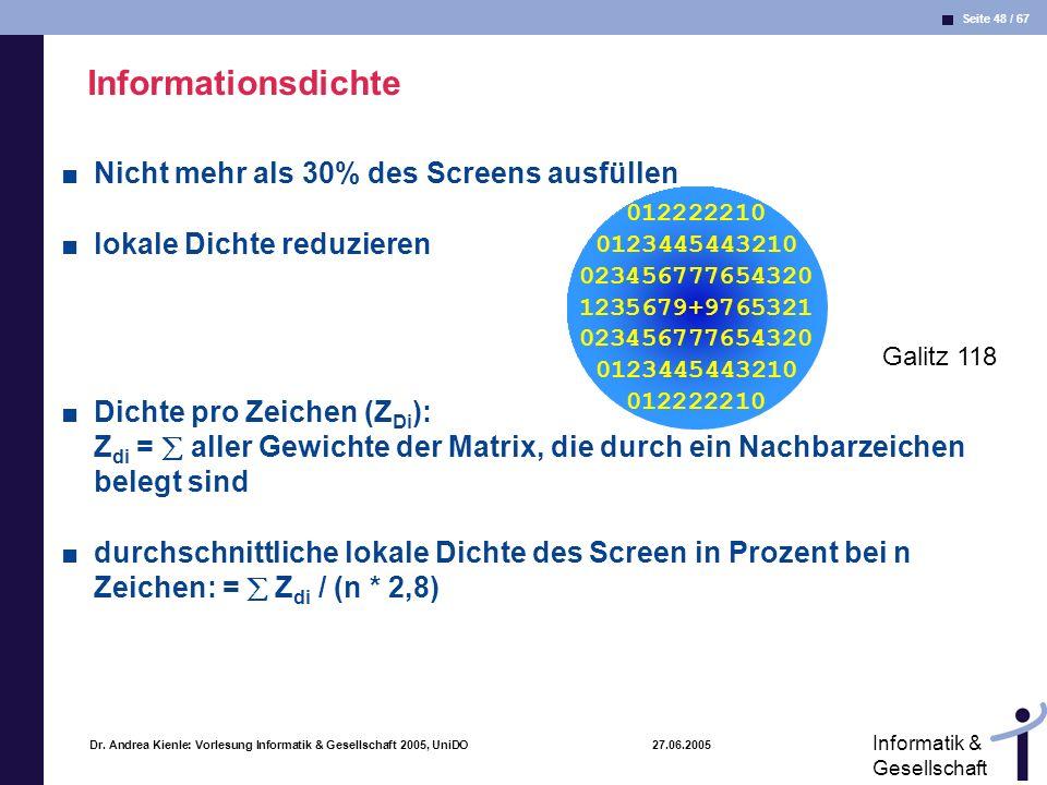 Informationsdichte Nicht mehr als 30% des Screens ausfüllen