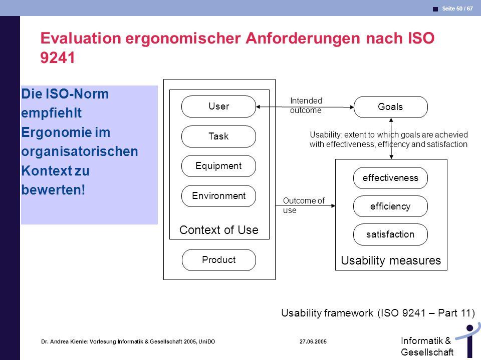Evaluation ergonomischer Anforderungen nach ISO 9241