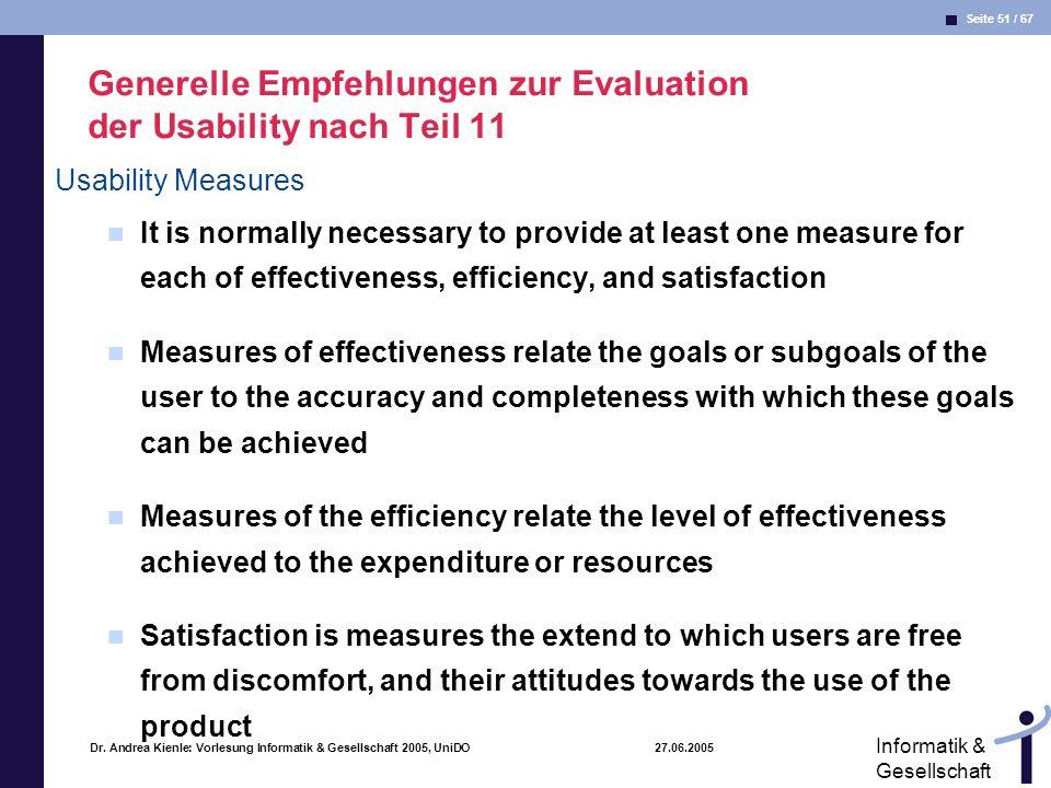 Generelle Empfehlungen zur Evaluation der Usability nach Teil 11