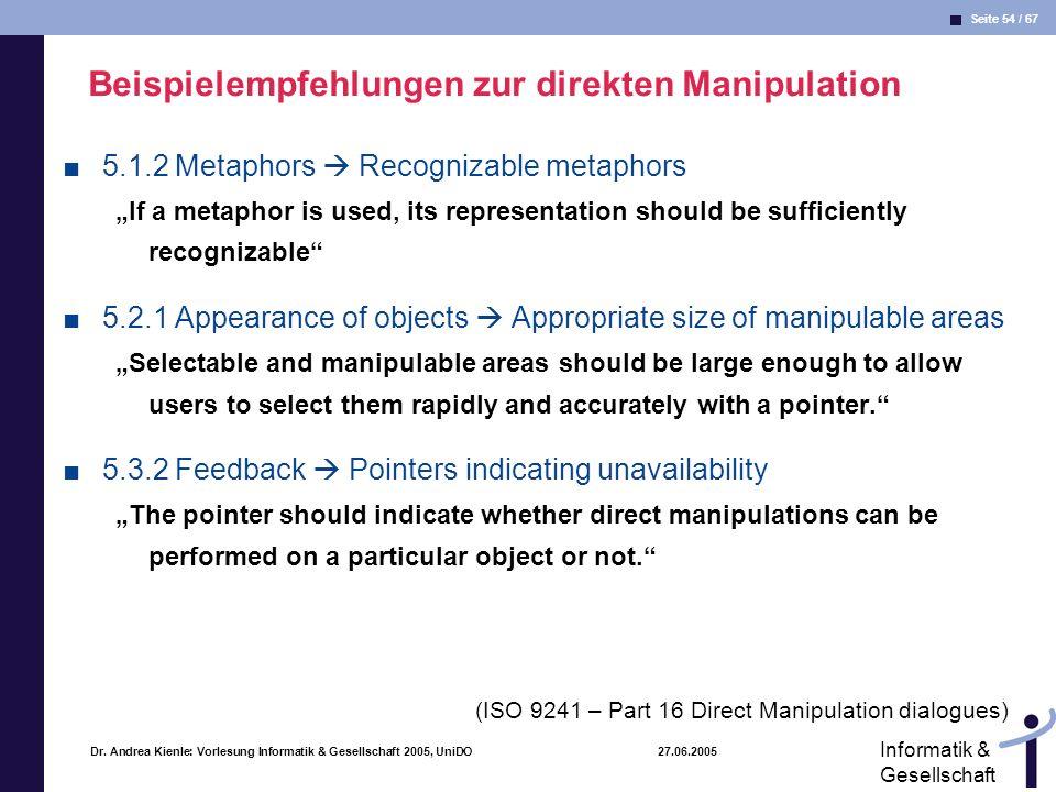 Beispielempfehlungen zur direkten Manipulation