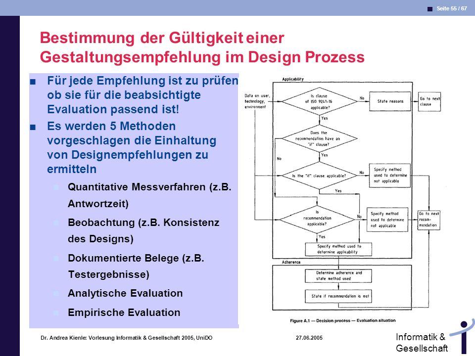 Bestimmung der Gültigkeit einer Gestaltungsempfehlung im Design Prozess