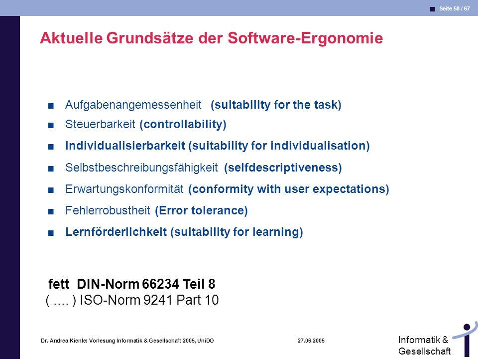 Aktuelle Grundsätze der Software-Ergonomie