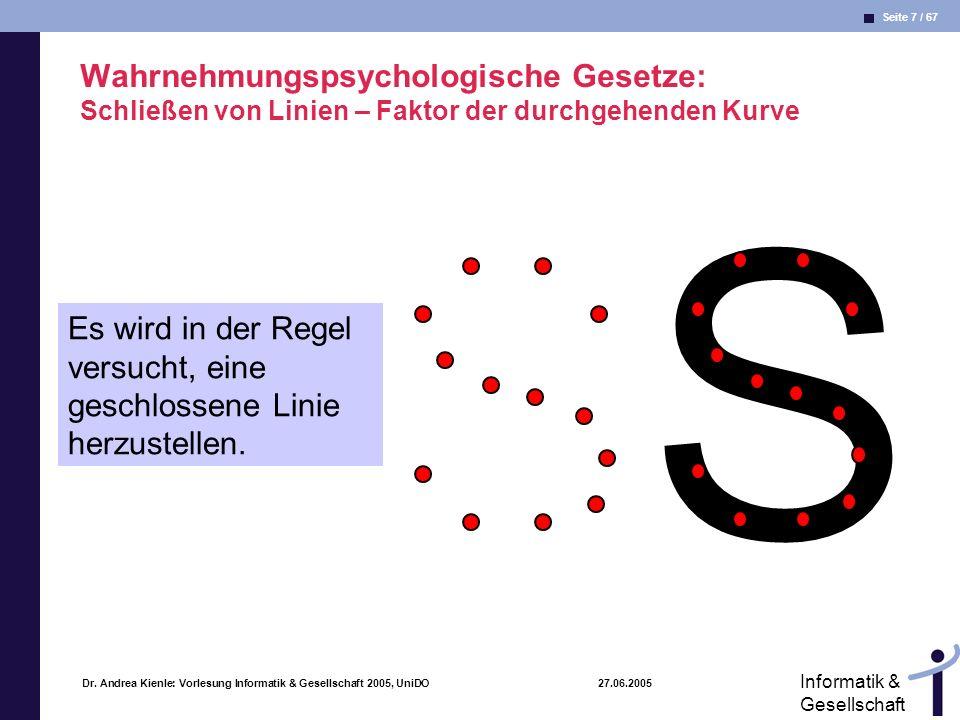 Wahrnehmungspsychologische Gesetze: Schließen von Linien – Faktor der durchgehenden Kurve