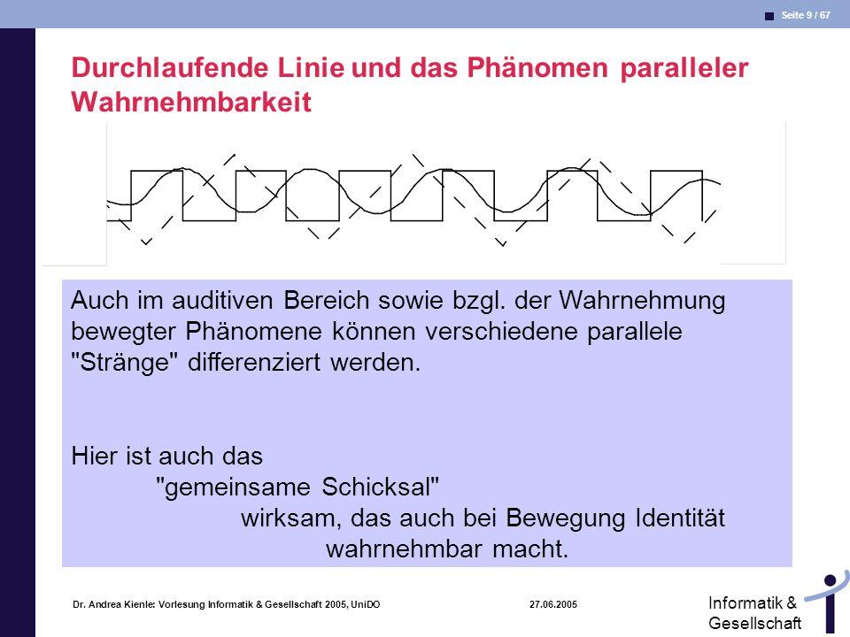 Durchlaufende Linie und das Phänomen paralleler Wahrnehmbarkeit
