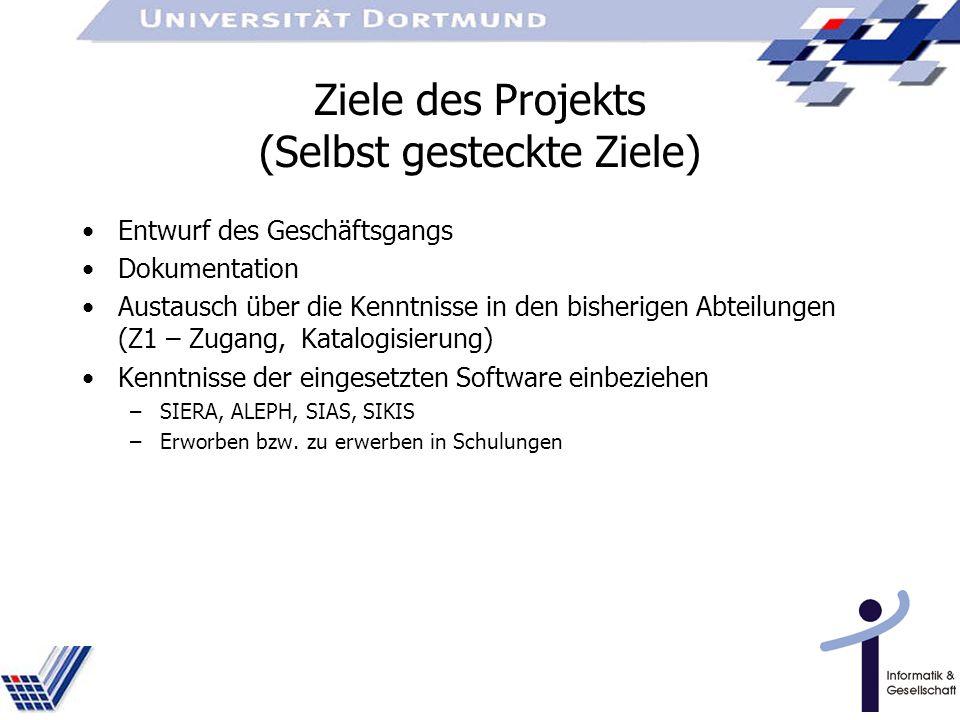 Ziele des Projekts (Selbst gesteckte Ziele)