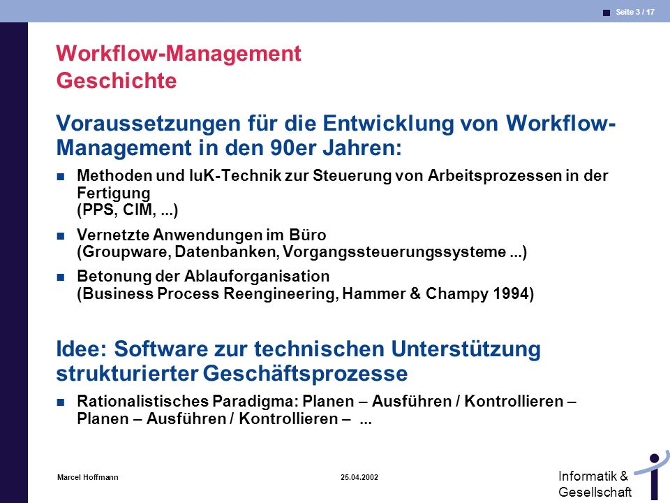 Workflow-Management Geschichte