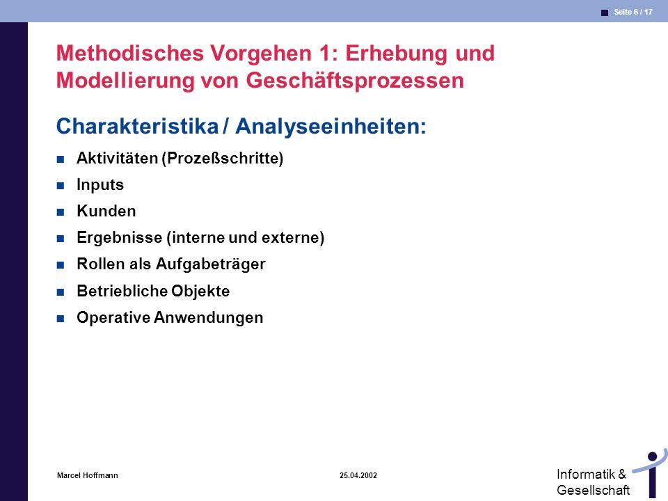 Charakteristika / Analyseeinheiten: