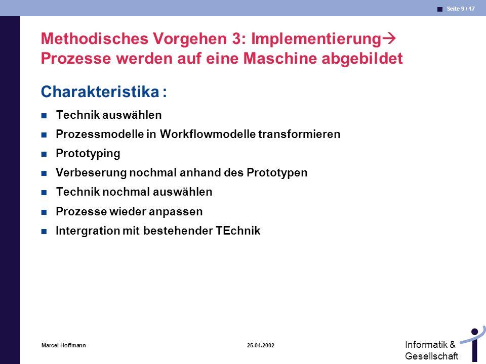 Methodisches Vorgehen 3: Implementierung Prozesse werden auf eine Maschine abgebildet