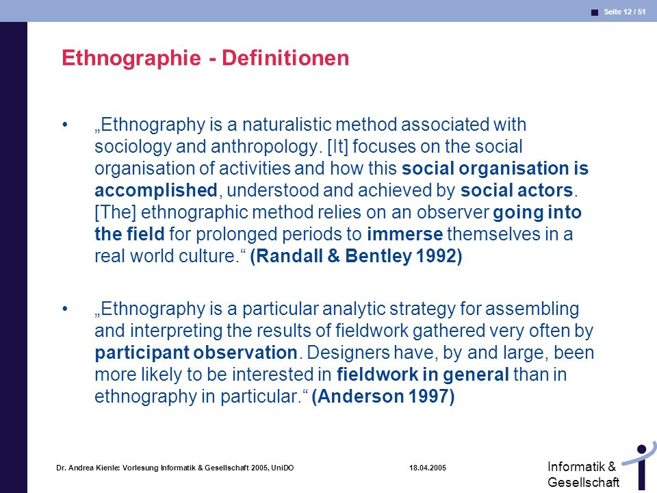 Ethnographie - Definitionen