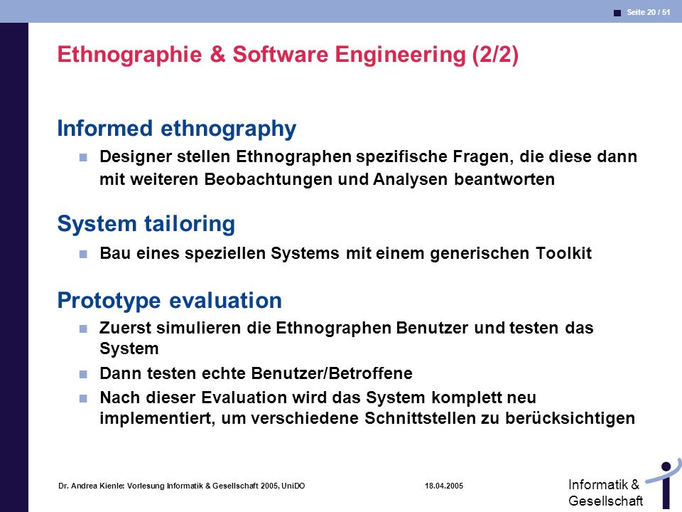 Ethnographie & Software Engineering (2/2)