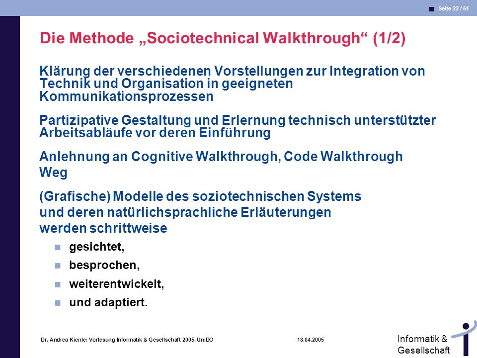 "Die Methode ""Sociotechnical Walkthrough (1/2)"
