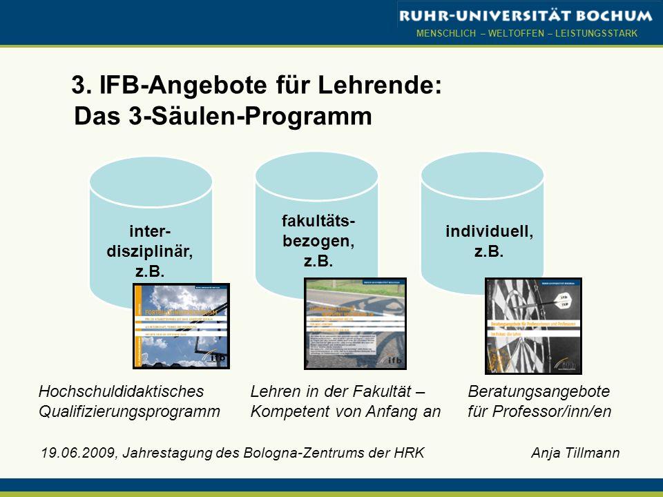 3. IFB-Angebote für Lehrende: Das 3-Säulen-Programm