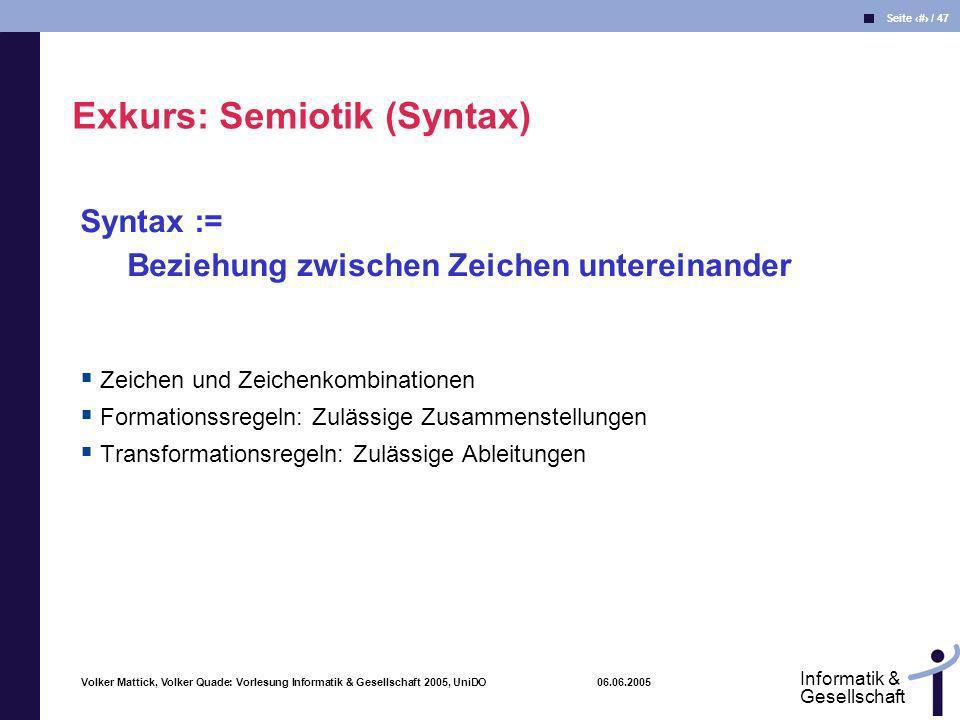Exkurs: Semiotik (Syntax)